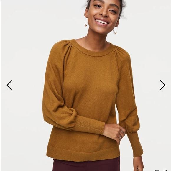 e86a18e95247f7 loft cuffed puff sleeve sweater olive xs NWOT 24